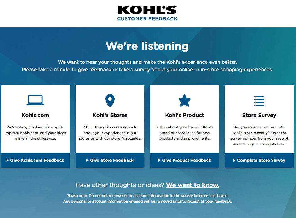 Kohls Listens - Share Your Feedback with Kohl's today!