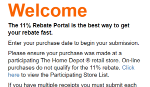 Home Depot 11% Rebates Review