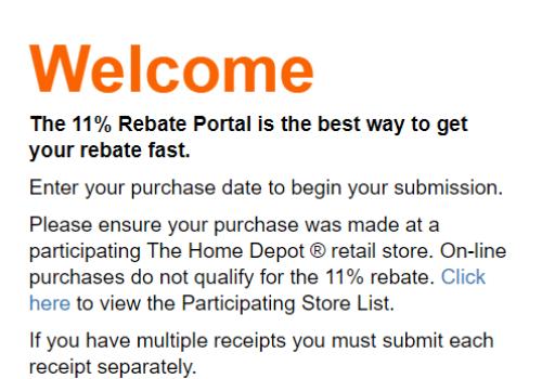 Home Depot 11% Rebate at HomeDepotRebates11percent.com